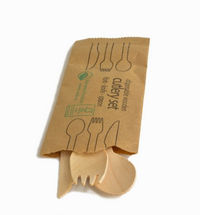 wooden cutlery in paper pack