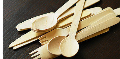 wooden forks, knives, and spoons